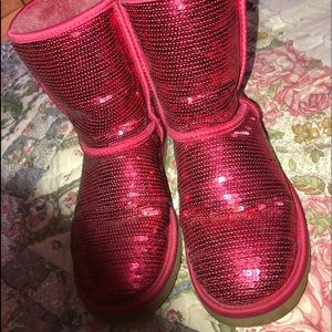 Red sequin ugg boots